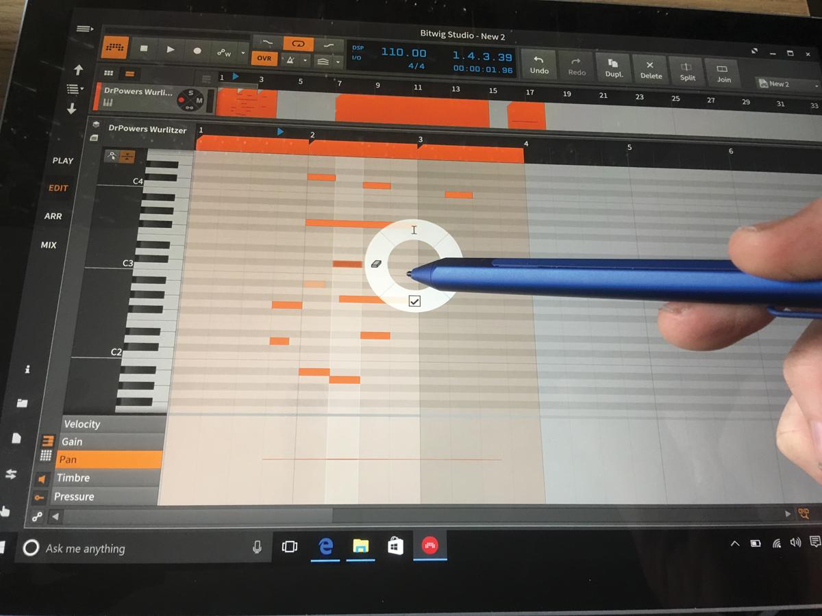 Bitwig v Surface Pro 4