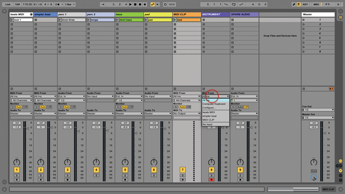 how to create a track in ableton live 9