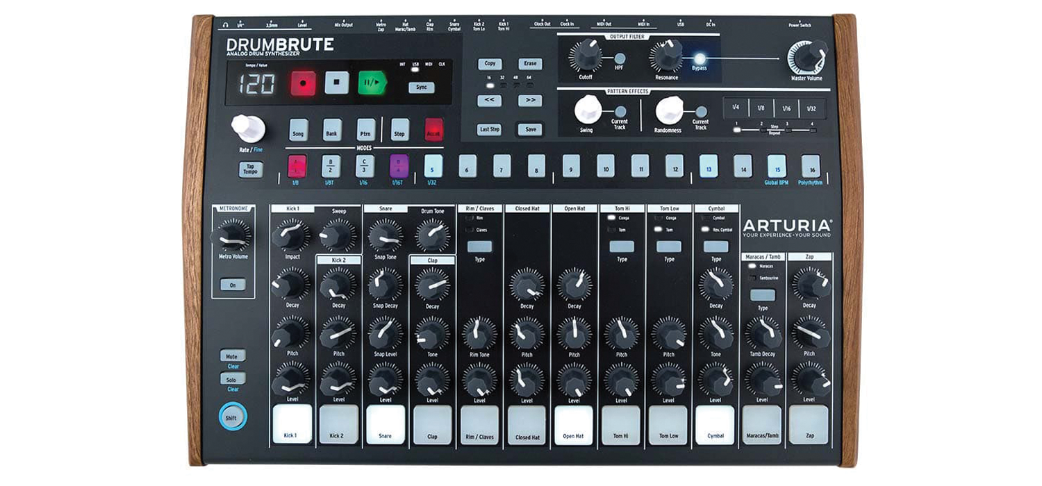 arturia 39 s drumbrute reviewed fully analogue drum machine. Black Bedroom Furniture Sets. Home Design Ideas