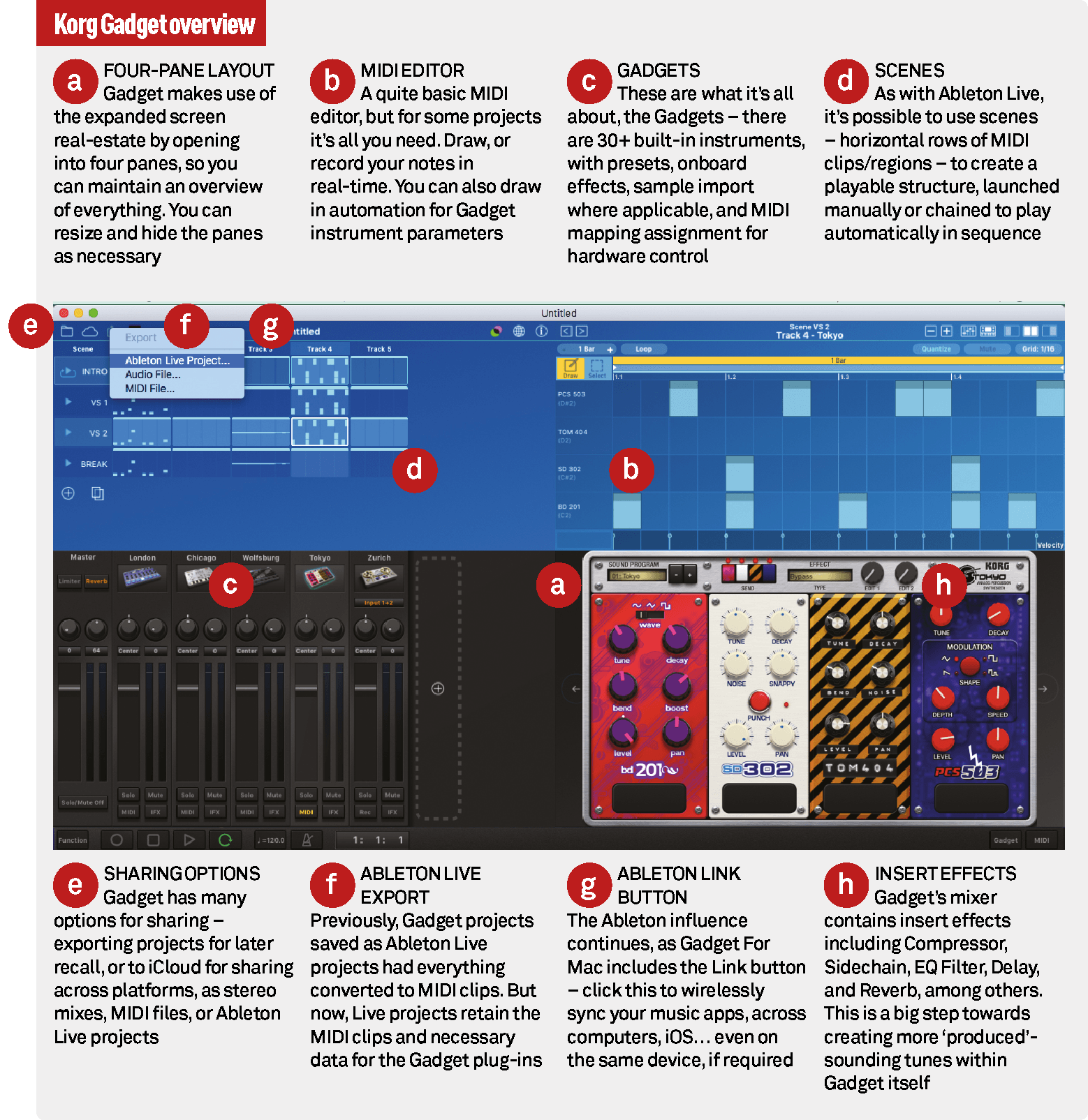 korg s gadget for mac review an absolute must have musictech net a four pane layout gadget makes use of the expanded screen real estate by opening into four panes so you can maintain an overview of everything