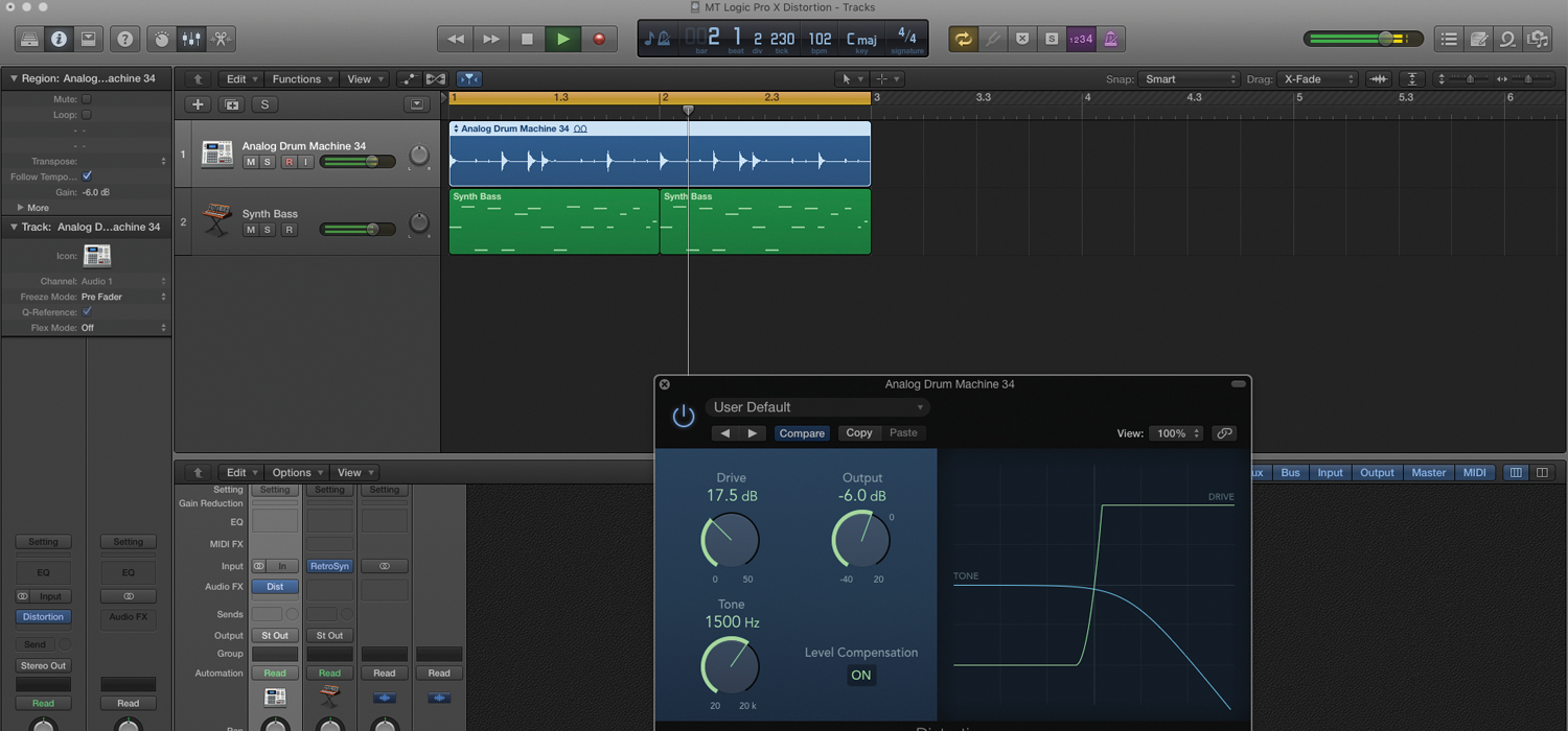 learn how to create amazing distortion sounds in logic pro x. Black Bedroom Furniture Sets. Home Design Ideas