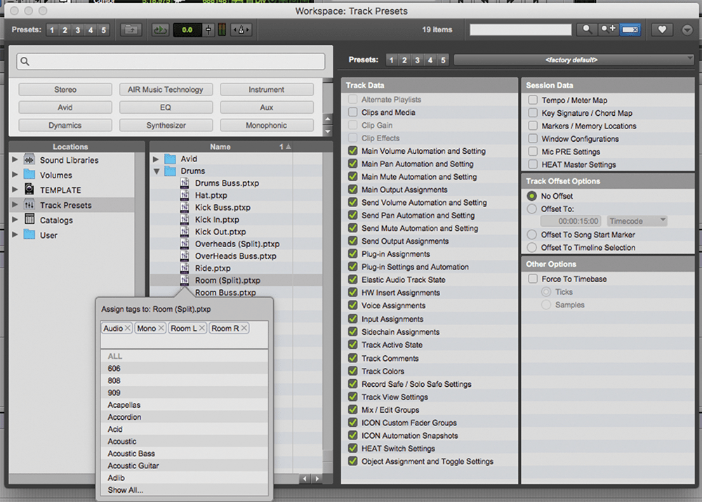 Using Track Presets in Pro Tools 2018: Step-By-Step (Continued)