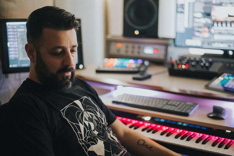 John Valasis in the studio