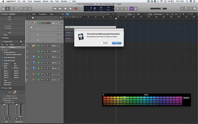 Track Alternatives in Logic Pro X - Step 12