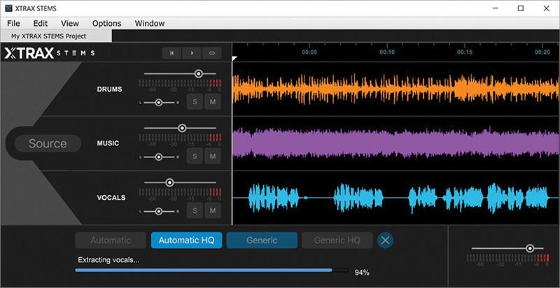 XTRAX STEMS screenshot - extracting vocals