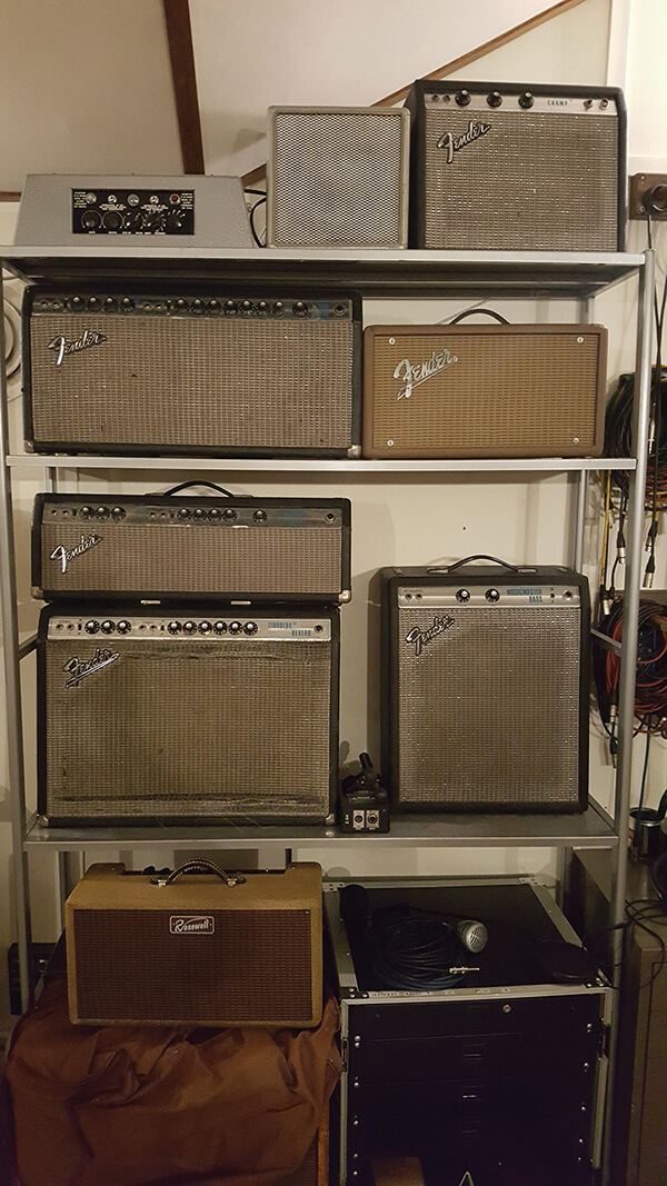 Soup Studio - The galley is stacked with amps