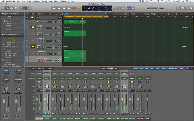how to change logic pro x piano roll colour