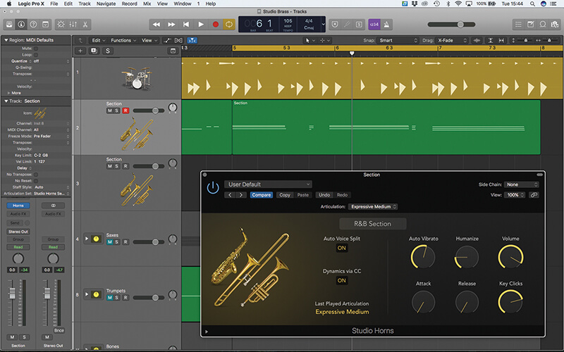 Studio Horns in Logic Pro X - Step 15