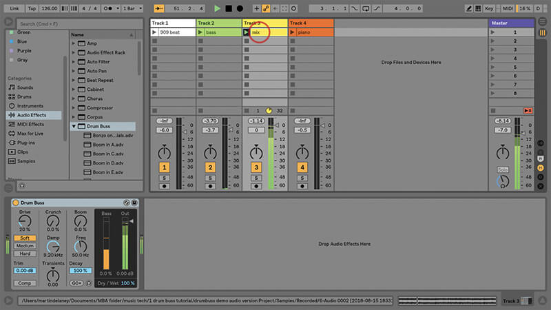 Using the New Drum Buss in Ableton Live - Step 8