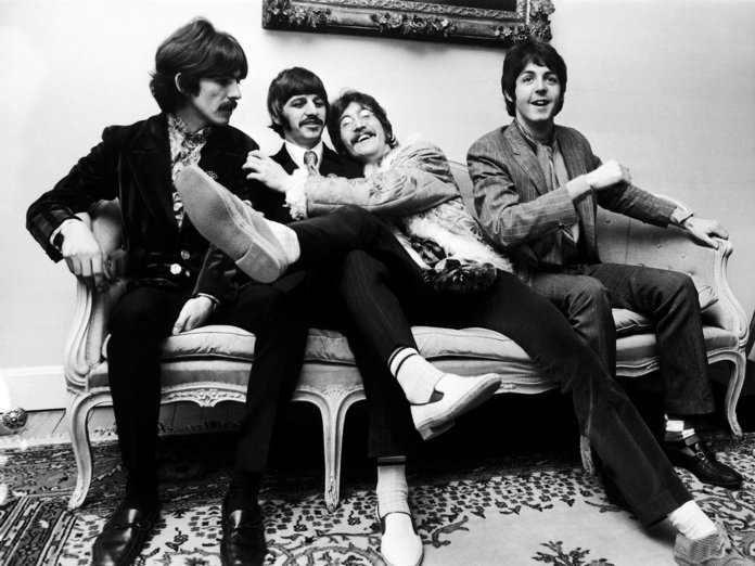 The Beatles at the press launch for their new album 'Sergeant Pepper's Lonely Hearts Club Band',