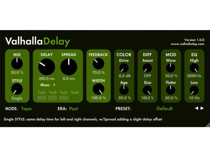 ValhallaDSP ValhallaDelay plug-in