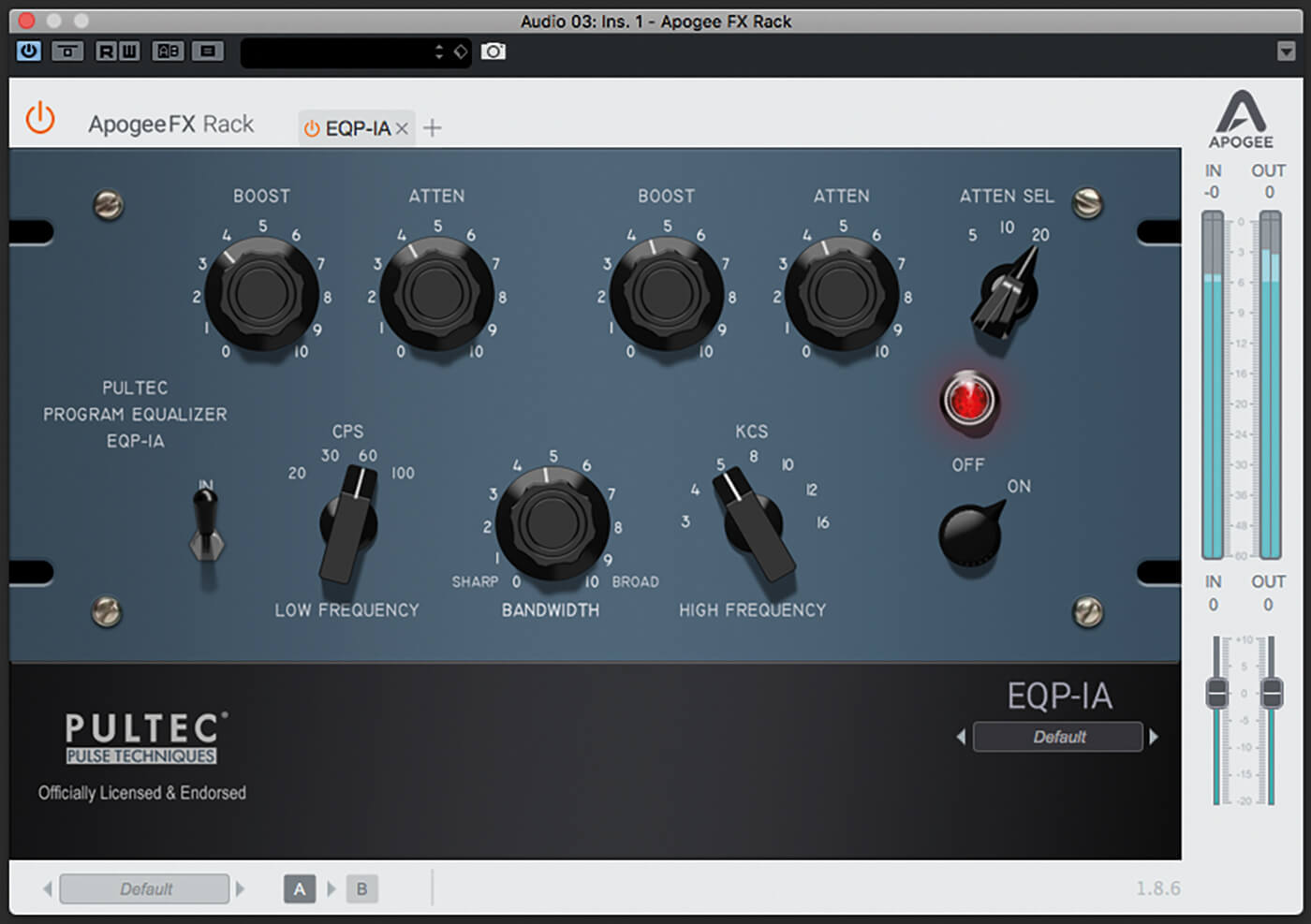 Apogee FX Rack  Pultec EQP-1A