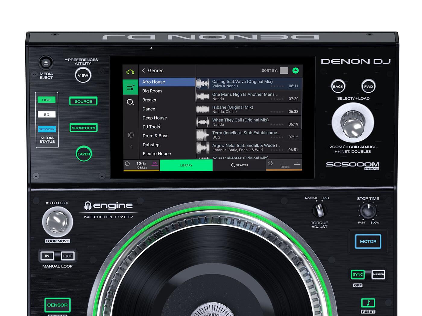 Denon DJ SC5000M display beatport link
