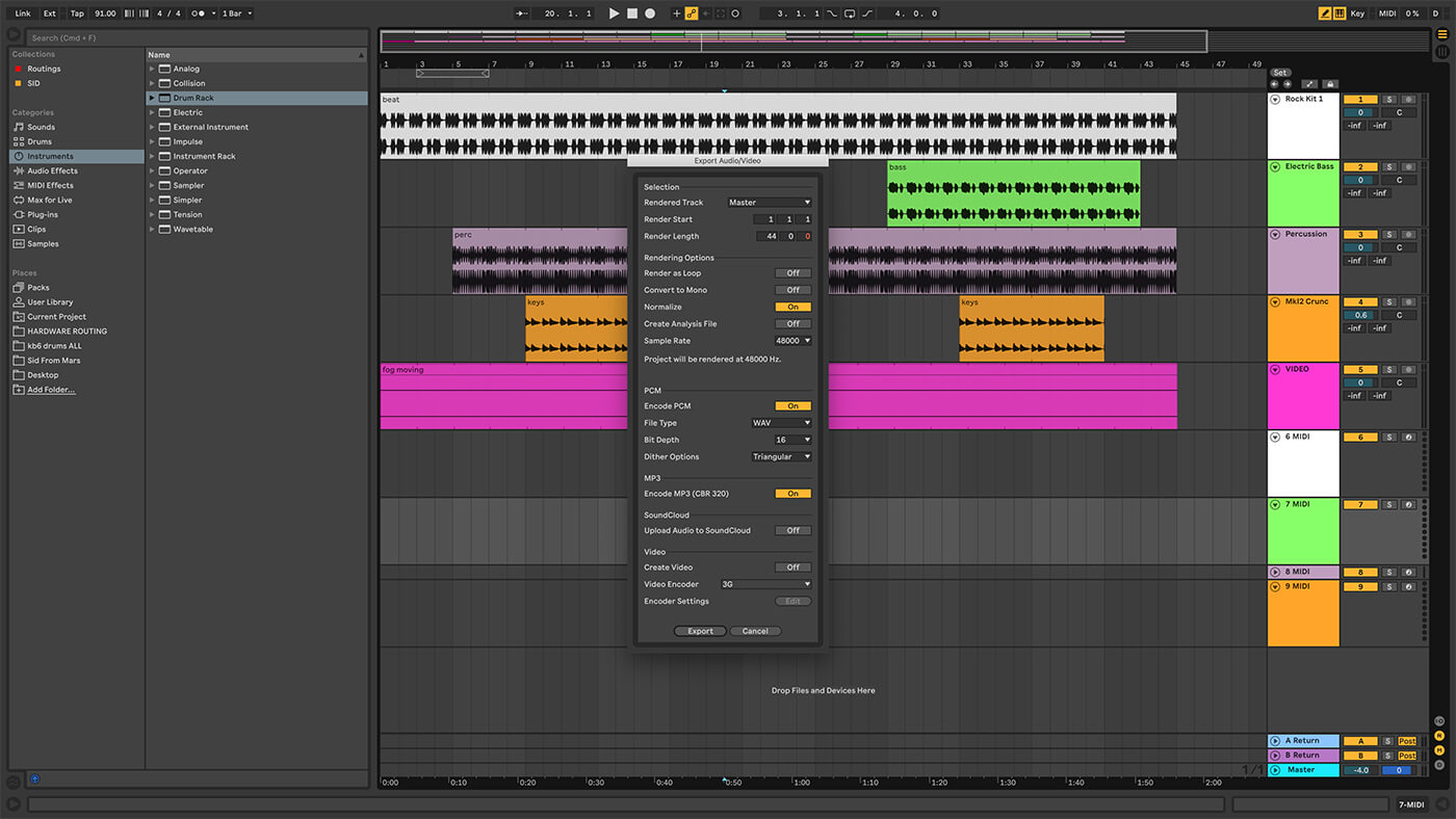 Exporting options in Ableton Live