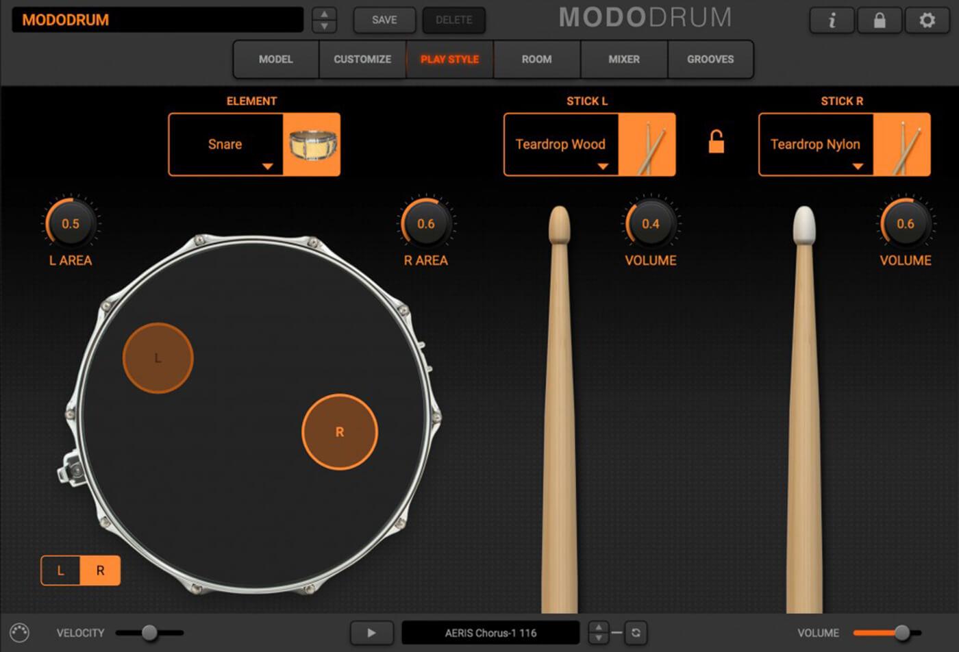 IK Multimedia Modo Drum stick selection