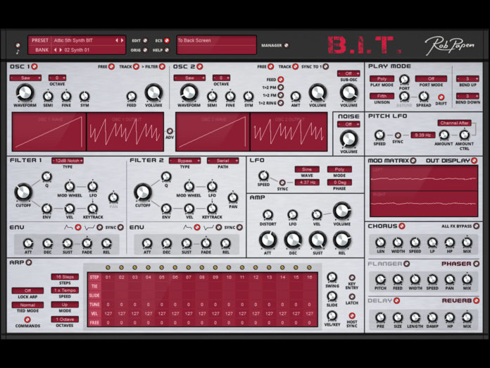 Rob Papen BIT synth plug-in layout