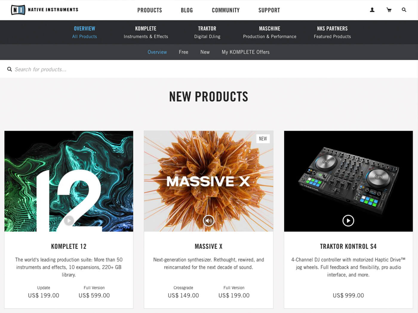 Native Instruments homepage