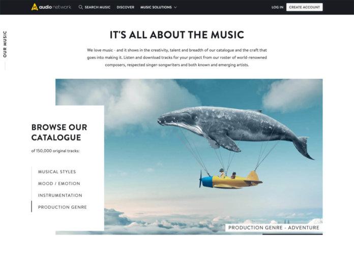 Screengrab of Audio Network homepage