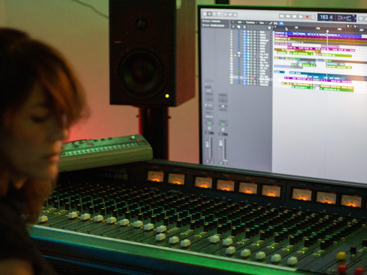 Franscesca Lombardo at mixing desk