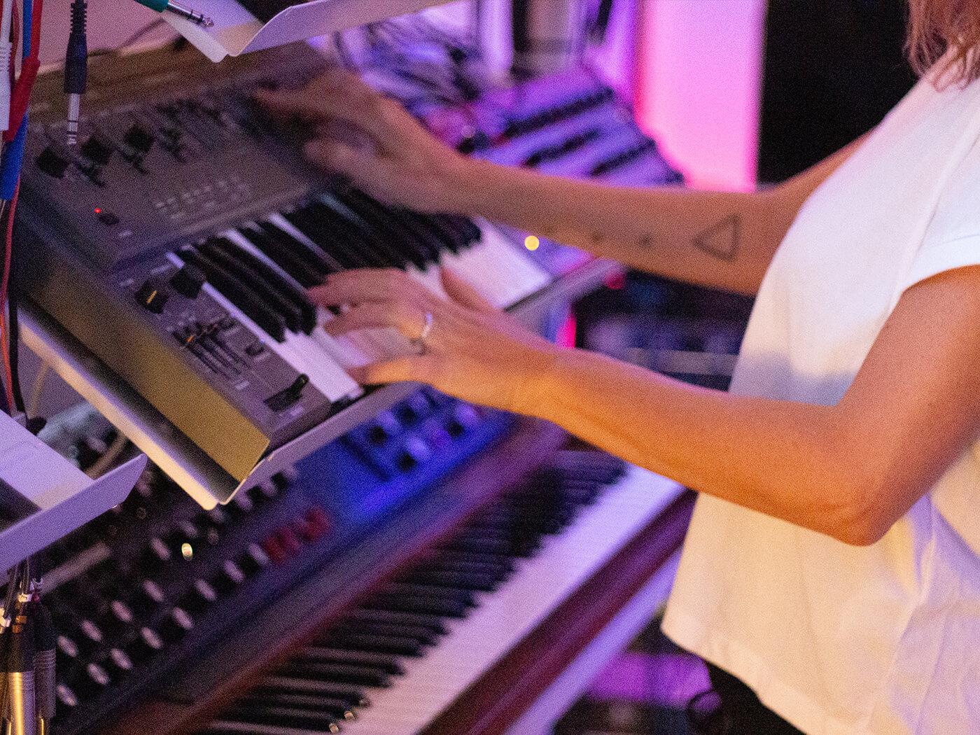 Francesca Lombardo with Roland SH-101