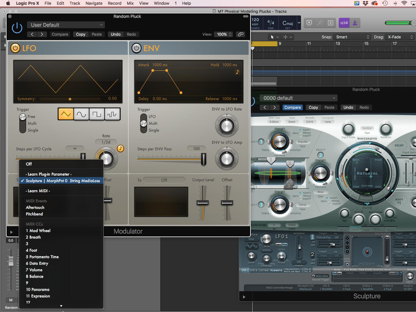 Physical Modelling Plucks in Logic Pro X: step-by-step