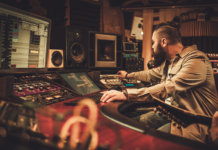 Composer working in studio