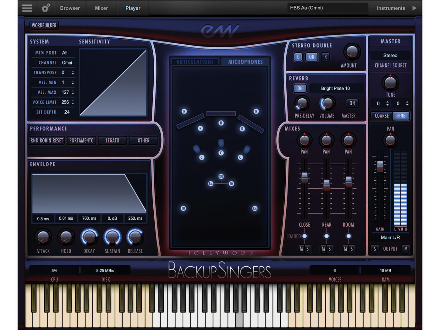 EastWest Sounds Hollywood Backup Singers Interface