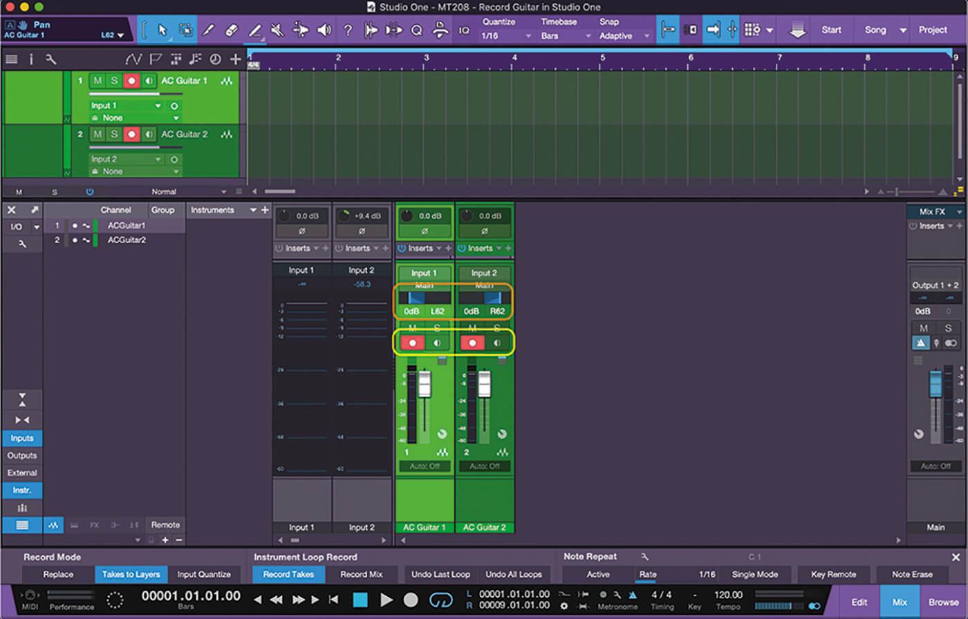 Recording Guitars In Studio One 4