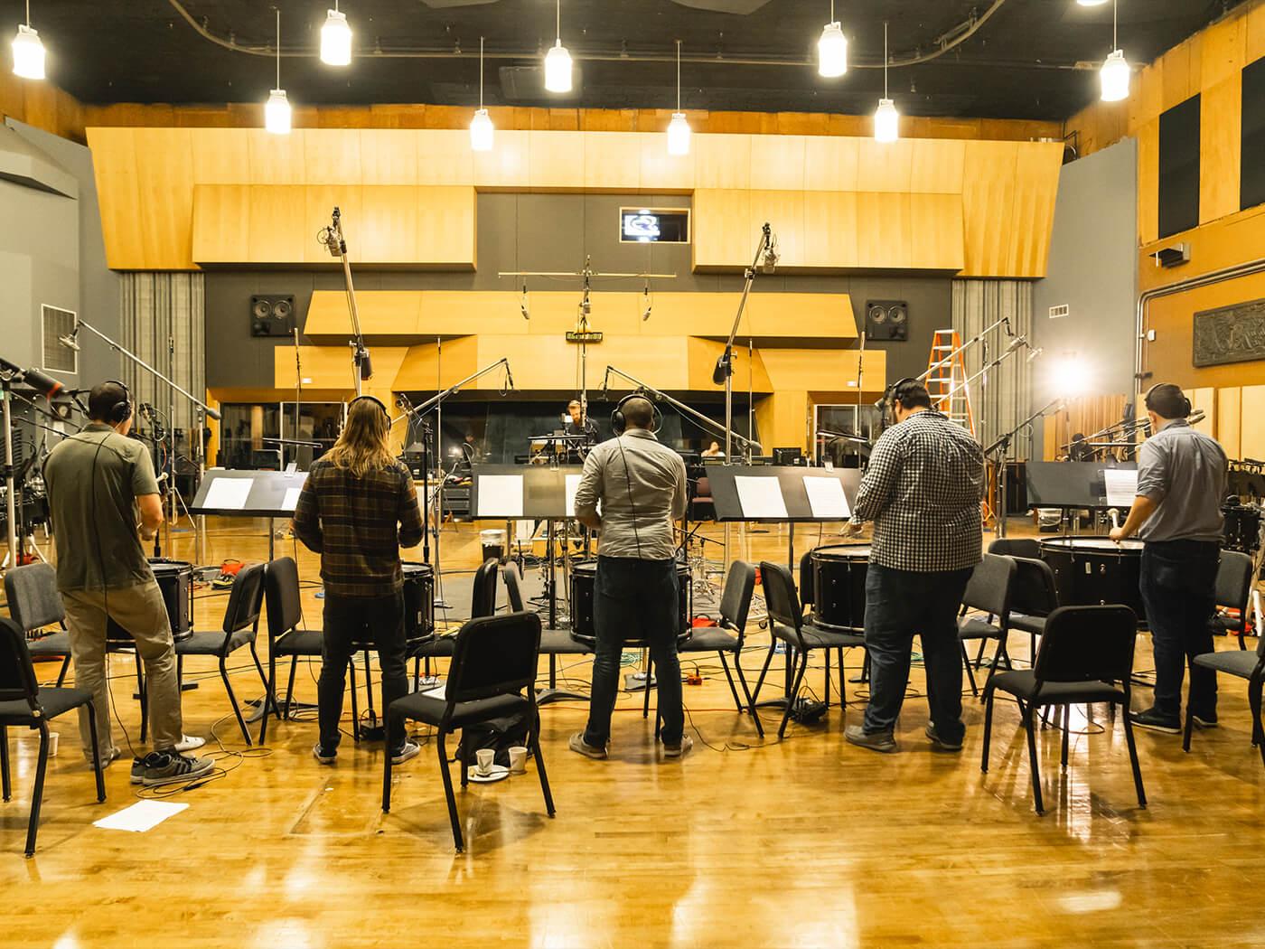 Blue Devils drum corps in the studio
