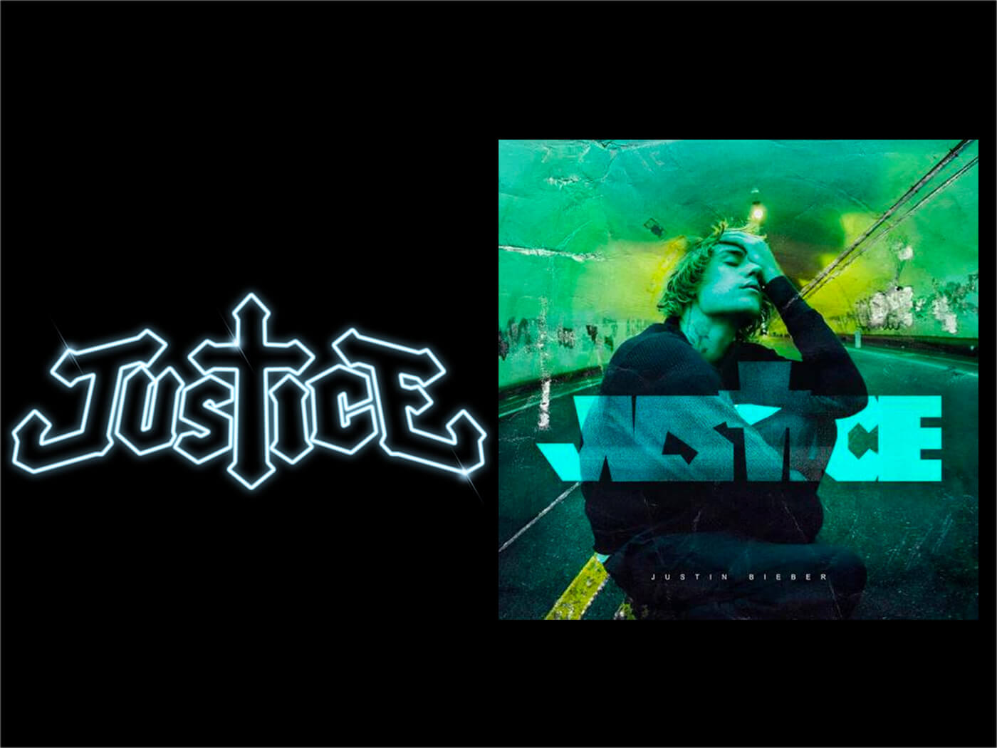 Justice Logo and Justin Bieber's Justice cover
