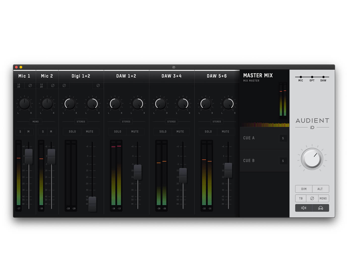 Audient iD14 MKII Mixer App