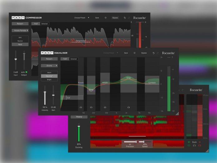 Focusrite FAST Plug-ins Hero image, compressor, equaliser EQ, spectral ducker