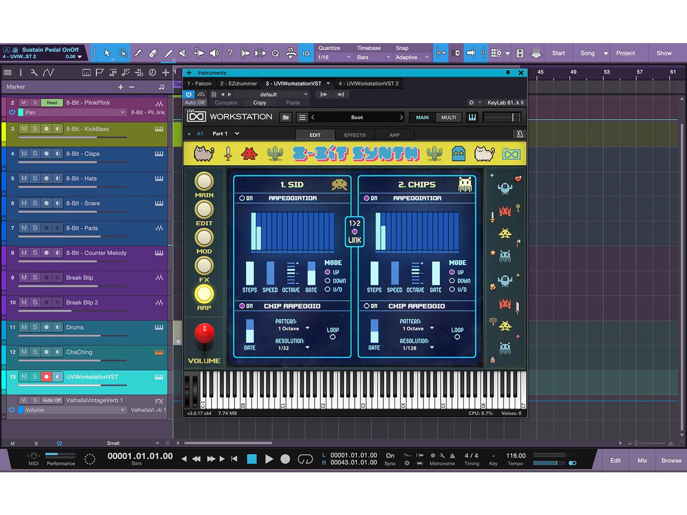 UVI 8-Bit Synth Arpeggiator page