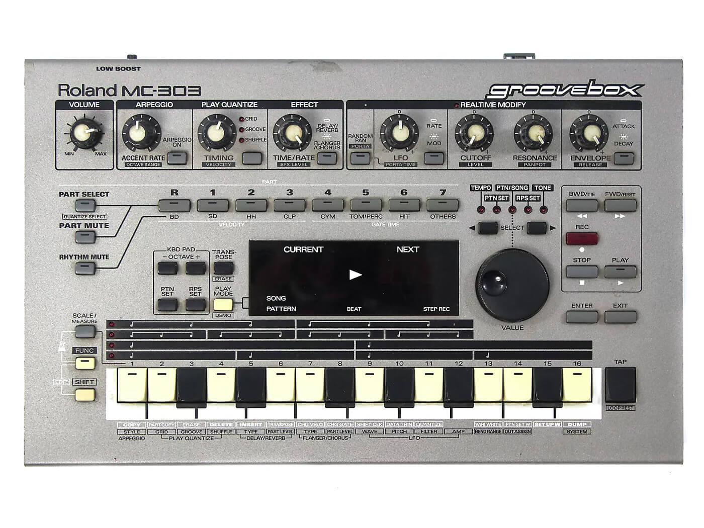 Roland MC-303 Groovebox Top down